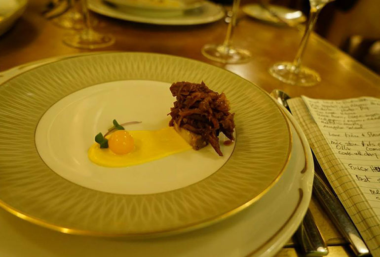 Stewed Duck Atop Bread Pudding